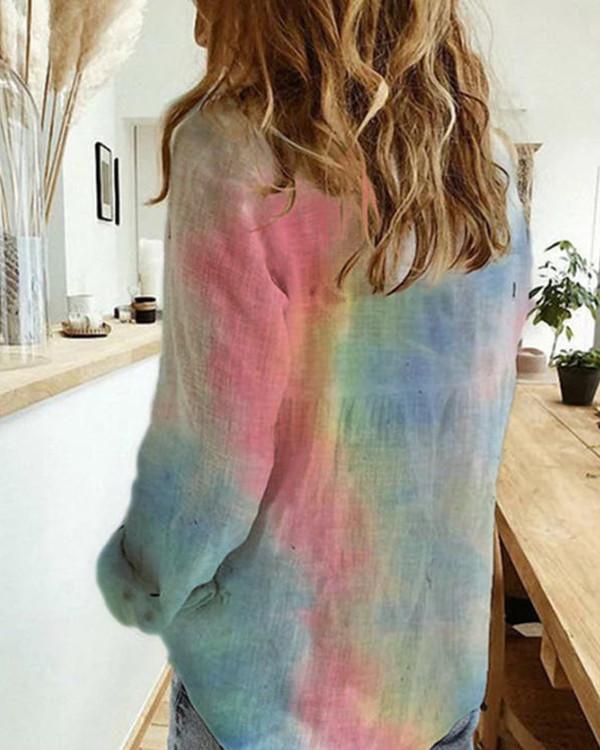 A Lapel Printed Long Sleeve Blouse