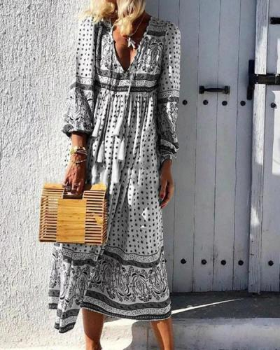 V Neck Holiday Long Sleeve Printed Dress