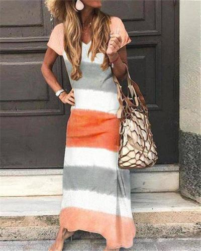 Stripe Printed Sexy Elegant Women Fashion Maxi Dresses