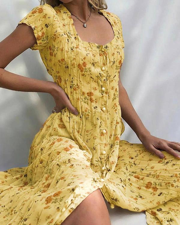 Mid-Calf Scoop Print Short Sleeve Regular Women's Dress
