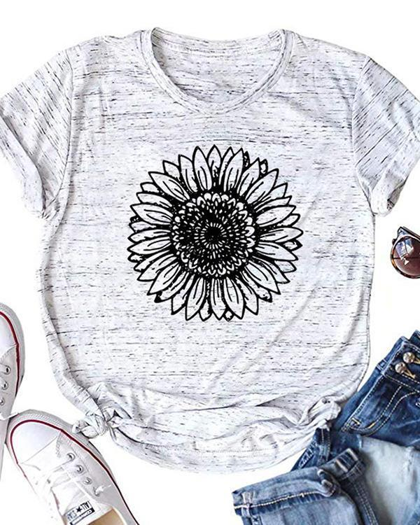 Trendy Sunflower O-Neck T-Shirt Tee