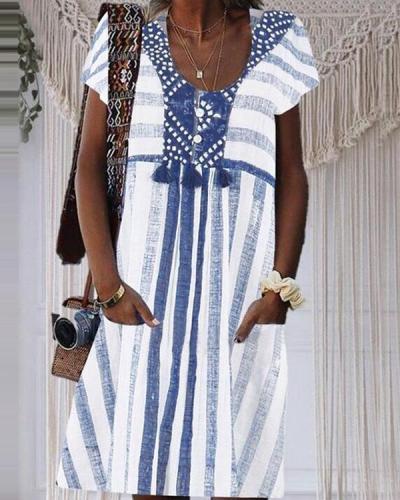 Striped Paneled Buttoned Tassel Pockets Holiday Mini Dress