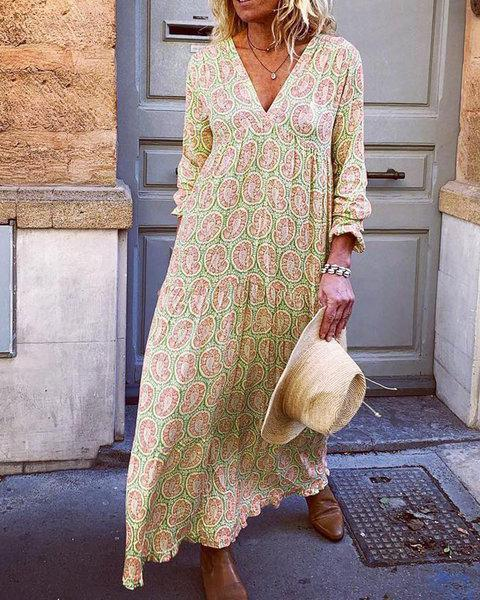 V Neck Women Floral Dresses Holiday Abstract Dresses