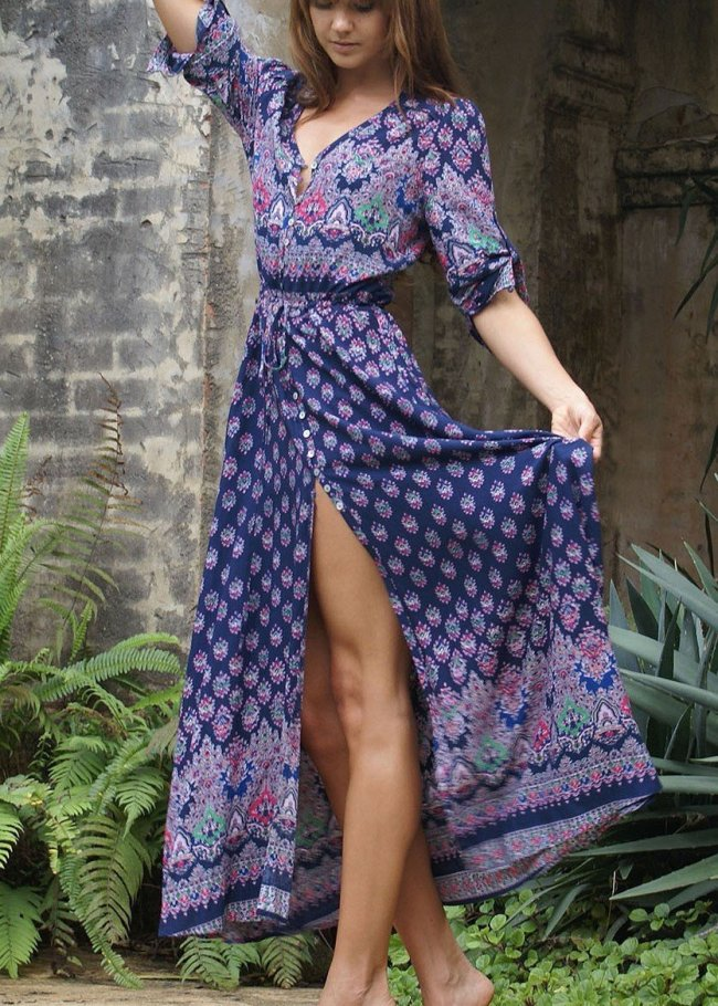 Pretty Chiffon Bohemia Floral 3/4 Sleeve V Neck Maxi Dress