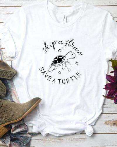 Skip A Straw Save A Turtle Shirt Womens Graphic Tee Short Sleeve