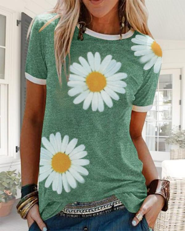 Plus size Short Sleeve Daisy Casual Shirts & Tops