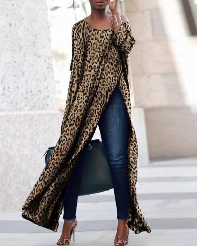 Slit Basic Crew Neck Leopard Printed Long Sleeve Dresses