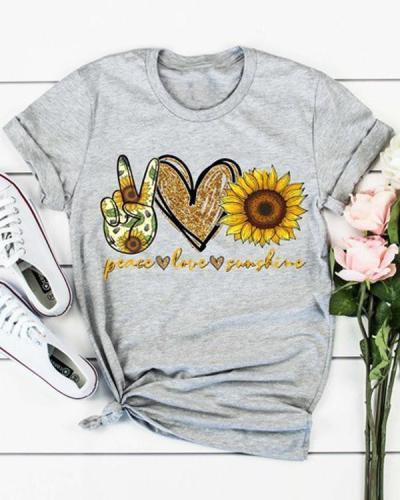 Sunflower Printed O-Neck Shirts