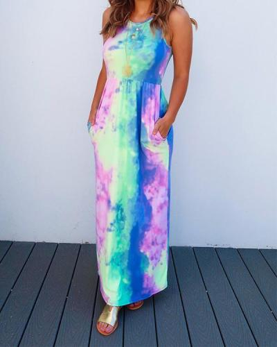 Tie Dye Sling Pocket Print Dress