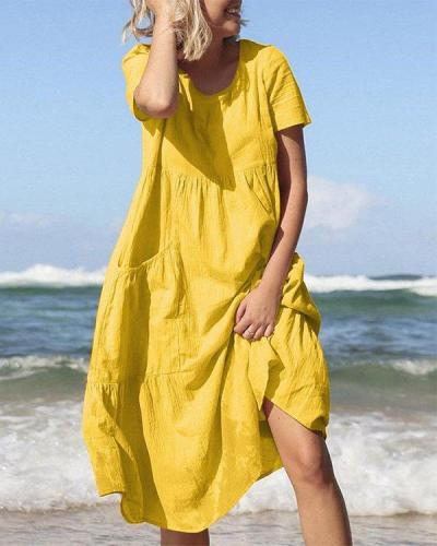 Solid Color Short Sleeves Summer Casual Dresses
