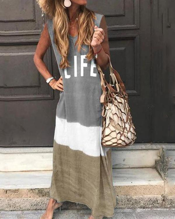 Summer Gradient Casual Sleeveless Letter Printed Dress