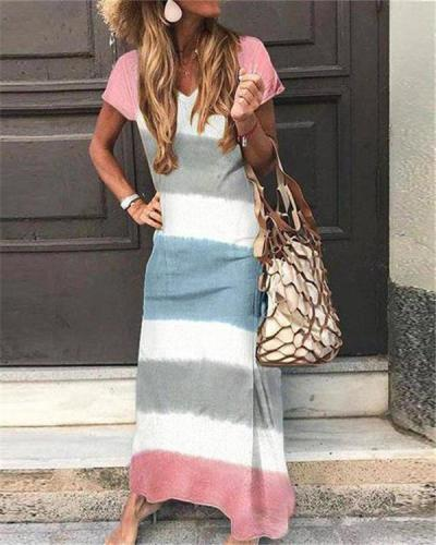 Stripe Printed Sexy Elegant Women Fashion Maxi Dresses