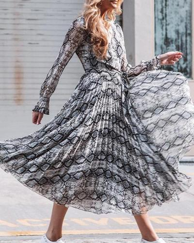Snakeskin Pleated Elegant Midi Dress