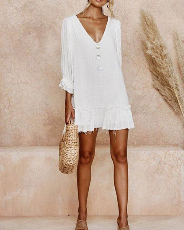Summer Solid 3/4 Sleeve V-Neck Vacation Mini Dress