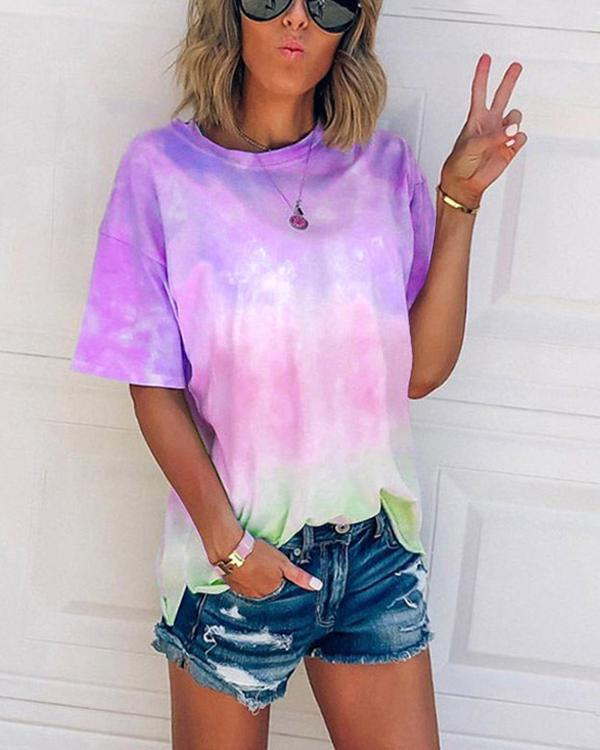 Tie-dye gradient rainbow T-shirt