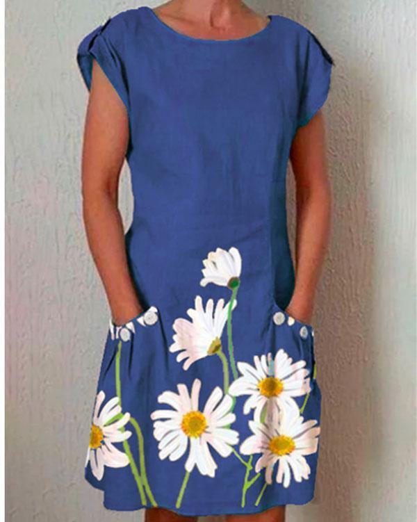 Gray Short Sleeve Floral-Print Dresses