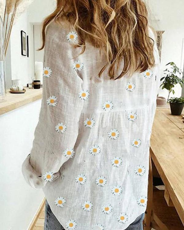 V Neck Flower Print Long Sleeve Blouse