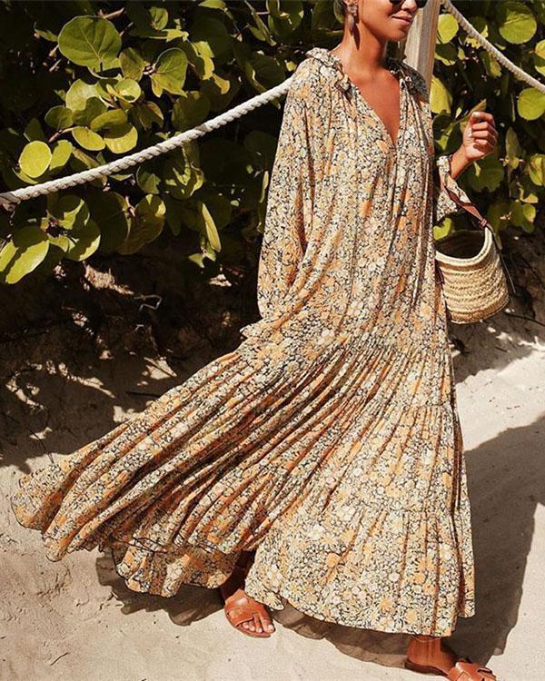 Spring Summer Casual Long Sleeve Printed Colour Elastic Maxi Dresses