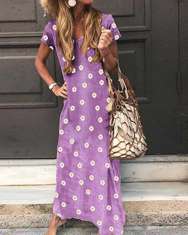 V Neck Casual Short Sleeve Flower Print Maxi Dresses