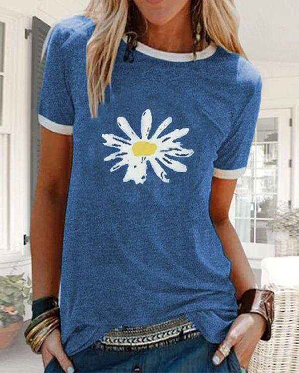 Printed Short Sleeve Crew Neck T-shirts Tops