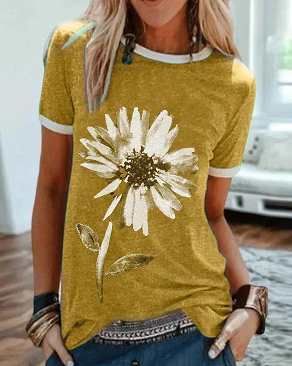 Casual Plus Size Floral Printed Tee Shirts Tops