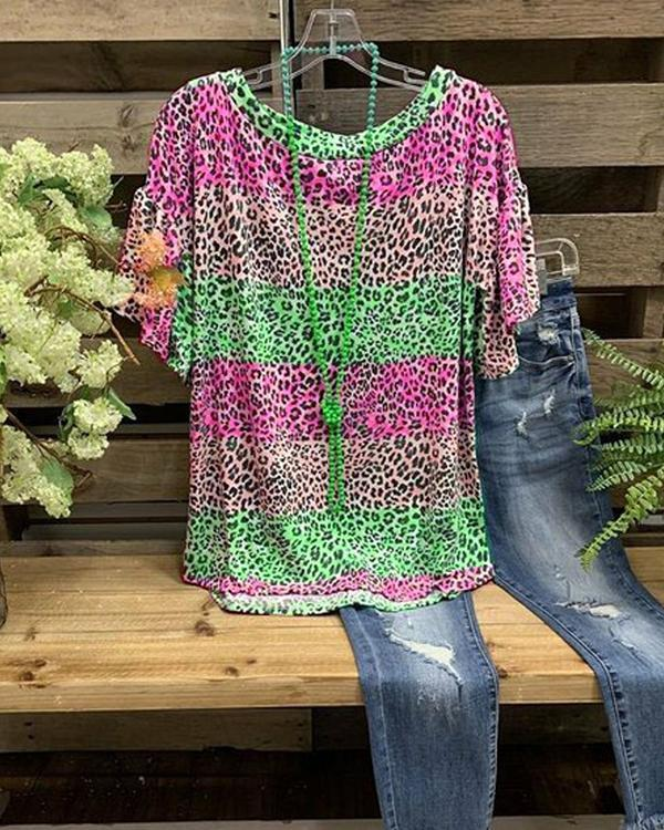 O-Neck Cotton Leopard Printed Casual Shirt & Top