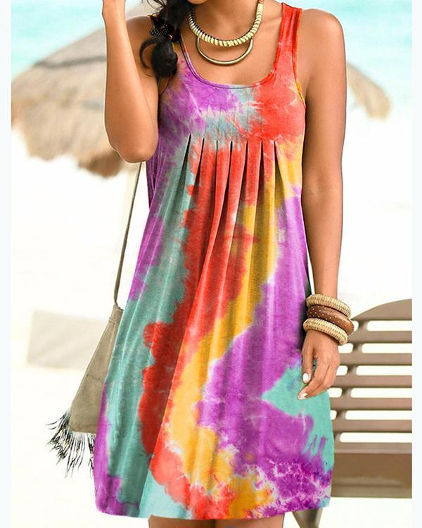 Sleeveless Holiday Gradient Print Paneled Pleated Mini Dress