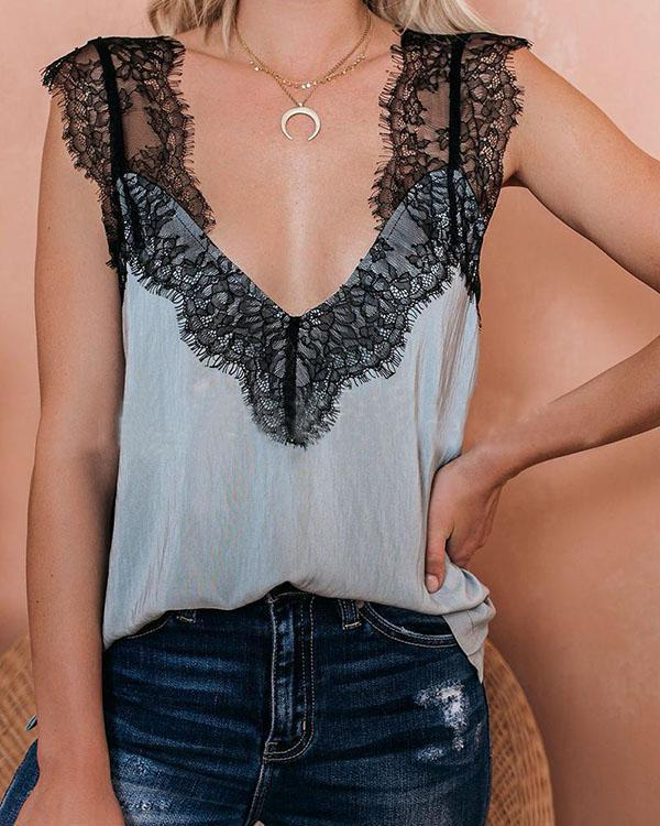 Lace Patchwork Light Camel Cami Tank
