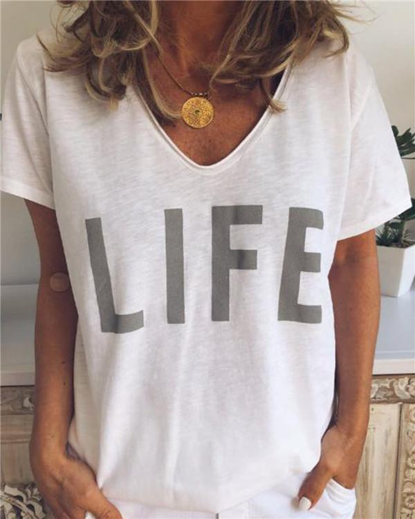 Short Sleeve Women Solid V Collar Life Loose Tops