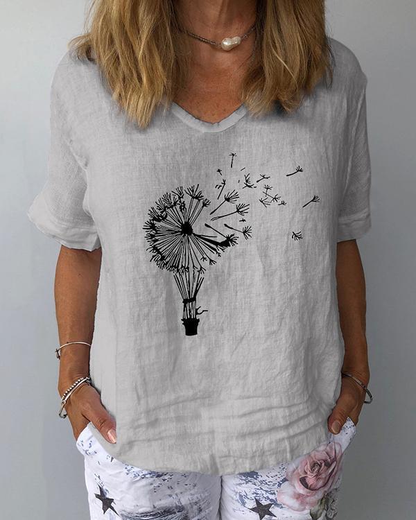 Short Sleeve Print Casual Women Blouses