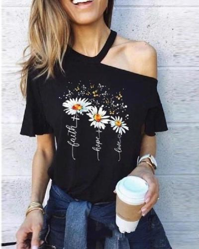 Cut Out Short Sleeve Print T-Shirt