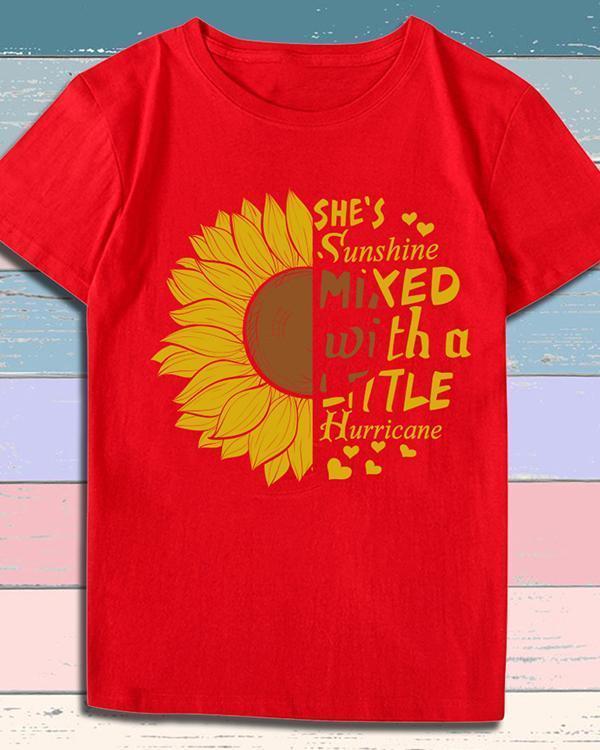 Print Sunflower T-shirt Ladies Short Sleeve Daily Tops