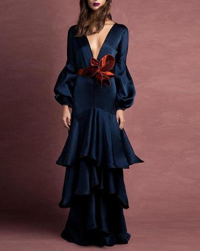 Solid Color  Elegant Women Fashion Maxi Dresses