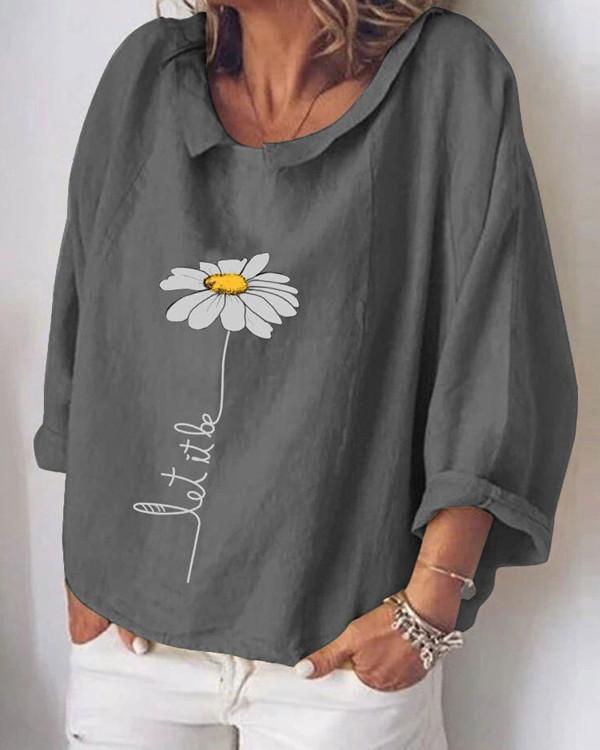 Fashion Flower Print Long Sleeve Shirt
