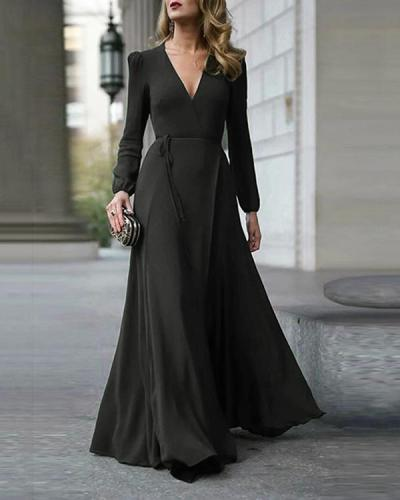 V-Neck Solid Color Maxi Dress