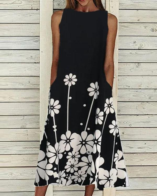 Floral-Print Sleeveless Casual Dresses
