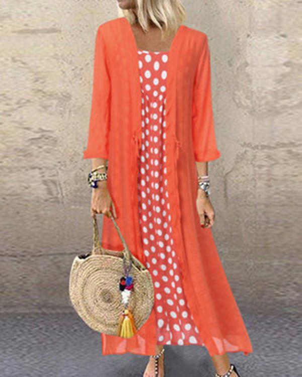 Polka Dot Crew Neck Holiday Daily Fashion Maxi Dresses