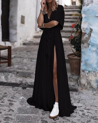 Sexy V Neck Short Sleeve Solid Lace Maxi Dress
