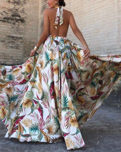 V Collar Sleeveless Summer Holiday Print Maxi Dress