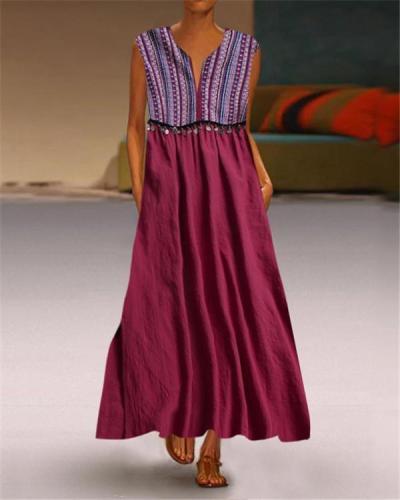 Printed Irregular V Neck Casual Shift Bench Vocation Dresses