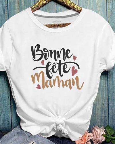 Summer Short Sleeve Letter Print Cotton T-shirt