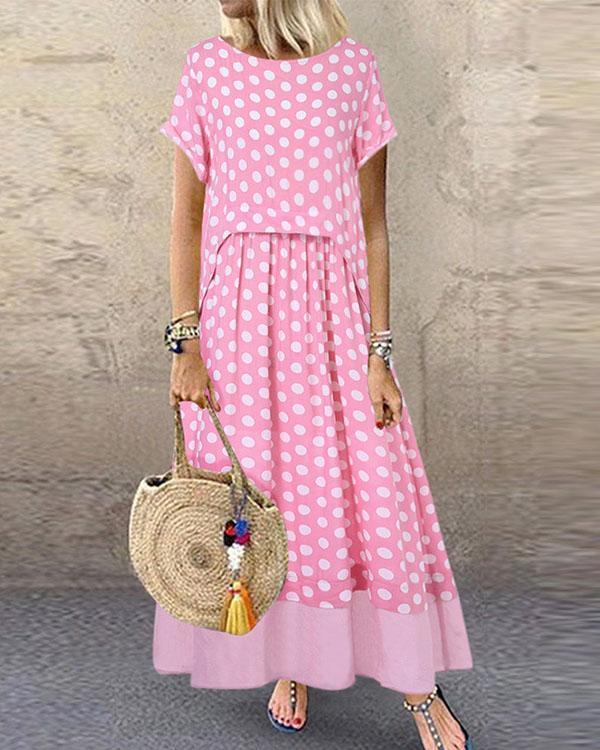Polka Dot Fake Two Pieces Summer Plus Size Maxi Dress