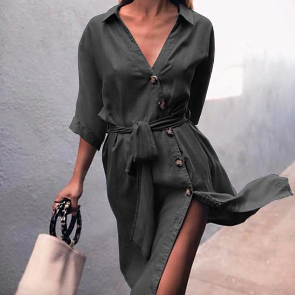 Tie Waist Button Down Elegant Shirt Dress 3/4 Sleeve Casual Dress