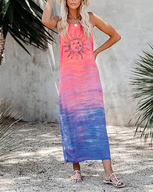 Womens Sleeveless Loose Gradient Sun Print Dress