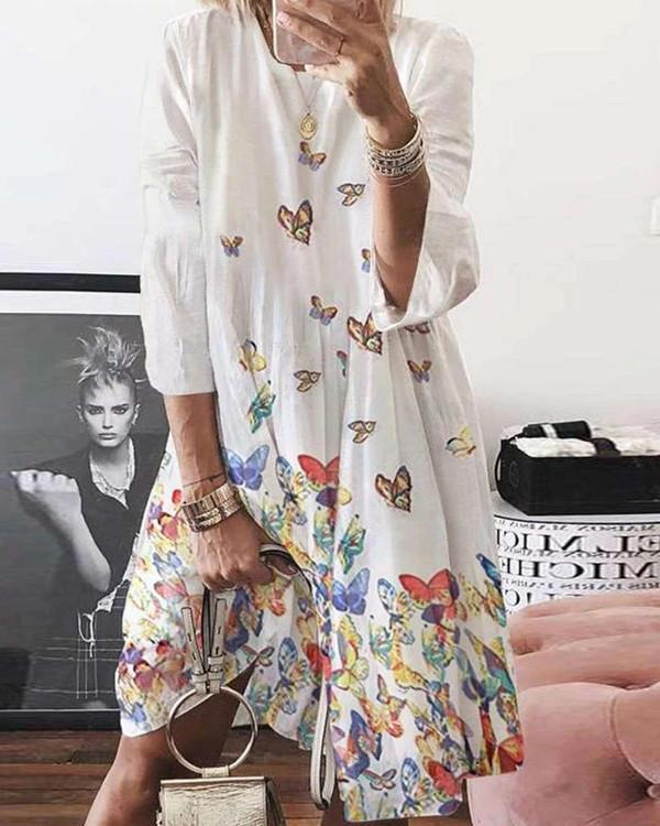 Normal Butterfly Casual Long-Sleeved Dresses