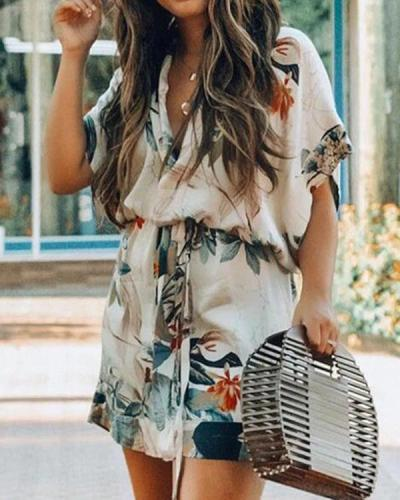 Short Sleeve Floral Leaf Print Dress