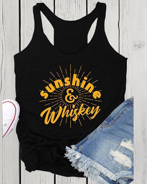 'Sunshine Whiskey' Letter Printed Sleeveless Vest Top T-shirt