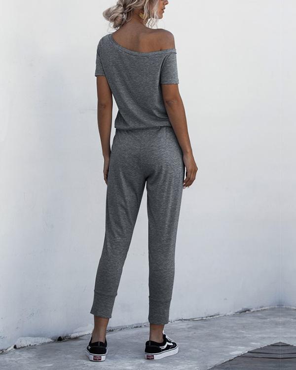 Asymmetric Neck Drawstring Waist Jumpsuit