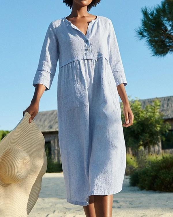 Cotton And Linen Pocket 3/4 Sleeve Dress