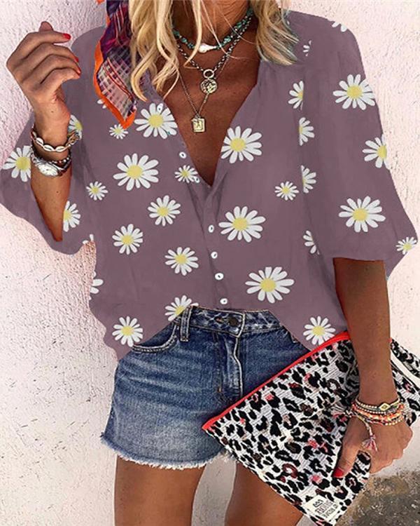 Women Daisy Printed Shirt Boho Causal  Blouse